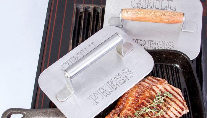 Cucina Milano Meat press wood & steel grilling steak 1200X800px